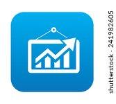 graph icon on blue button...