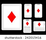 mobile devices with poker... | Shutterstock . vector #242015416