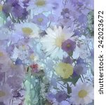 Vintage Flowers Painting.daisy...