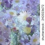 Vintage Flowers Painting.daisy...