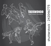illustration of taekwondo. hand ... | Shutterstock .eps vector #242046775
