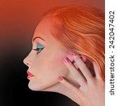fashion model. profile. makeup. | Shutterstock . vector #242047402