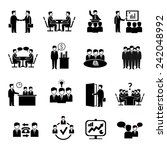 meeting icons set with business ... | Shutterstock .eps vector #242048992