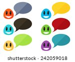 set of 6 colorful flat monsters ... | Shutterstock .eps vector #242059018