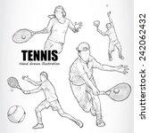 illustration of tennis. hand... | Shutterstock .eps vector #242062432