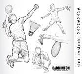 illustration of badminton. hand ...   Shutterstock .eps vector #242062456