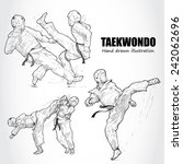 illustration of taekwondo. hand ... | Shutterstock .eps vector #242062696