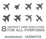 aircraft or airplane icons set... | Shutterstock .eps vector #242065735