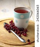 cranberry tea and berry on the... | Shutterstock . vector #242066065