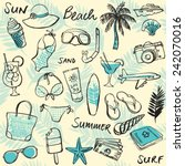 summer vacation holiday icons... | Shutterstock .eps vector #242070016