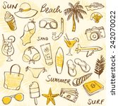 summer vacation holiday icons... | Shutterstock .eps vector #242070022