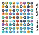 shopping icons set. color flat... | Shutterstock .eps vector #242078878