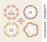 valentine's day hand drawn set... | Shutterstock .eps vector #242082475