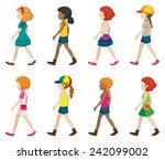 set of faceless girls in
