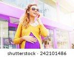 Stylish Pregnant Woman Talking...
