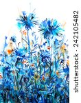 blue thickets of cornflowers... | Shutterstock .eps vector #242105482
