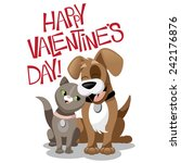 valentines day cartoon dog and... | Shutterstock .eps vector #242176876