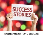 Small photo of Success Stories card with colorful background with defocused lights