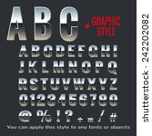 set of chrome letters and... | Shutterstock .eps vector #242202082