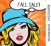 pop art woman fall sale  sign.... | Shutterstock .eps vector #242231008