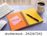 good job word on note pad stick ... | Shutterstock . vector #242267242