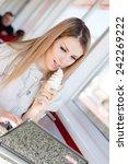 portrait of blond pretty woman... | Shutterstock . vector #242269222