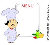 illustration with cook and menu. | Shutterstock .eps vector #242316772