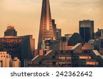 The Last Shine in San Francisco, California, United States. San Francisco Skyline Sunset Scenery. - stock photo