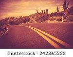 Curved Arizona Desert Road....
