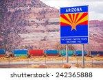 Arizona State Entrance Sign, Highway and the Railroad. Arizona, United States.Welcome in Arizona. - stock photo