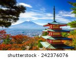 Mt. Fuji With Chureito Pagoda...