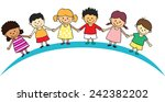 kids lined up | Shutterstock .eps vector #242382202