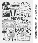 movie elements doodles hand... | Shutterstock .eps vector #242426452