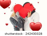 couple in winter fashion posing ... | Shutterstock . vector #242430328