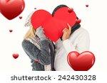 couple in winter fashion posing ... | Shutterstock . vector #242430328