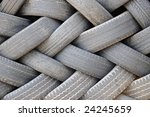 Large stockpile of used tires - stock photo
