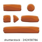 set of cartoon wooden buttons... | Shutterstock .eps vector #242458786