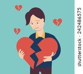 Sad Man Holding Broken Heart...
