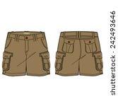 men cargo shorts vector template | Shutterstock .eps vector #242493646