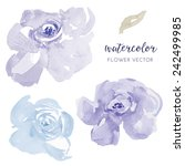 Blue Flowers Vector Watercolor...