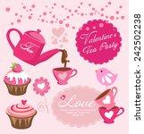 valentine's tea party  | Shutterstock .eps vector #242502238