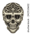 art skull day of the dead. hand ... | Shutterstock . vector #242510602