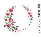 flower wreath watercolor... | Shutterstock .eps vector #242521702