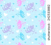 seamless pattern with cupids. | Shutterstock .eps vector #242533882