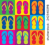 Pop Art Style Flip Flops In A...