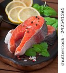 Fresh And Raw Steaks Trout On A ...