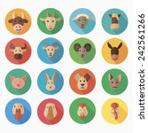 farm animals flat icon with... | Shutterstock .eps vector #242561266