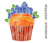watercolor cupcake with fruits... | Shutterstock .eps vector #242574526