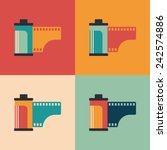 colorful set of camera film... | Shutterstock .eps vector #242574886