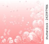 holiday card with glass hearts... | Shutterstock . vector #242597986